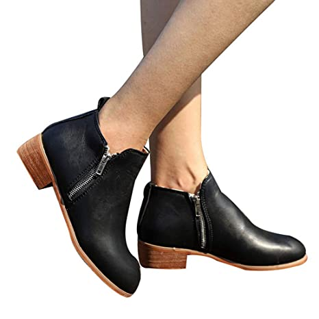 0159555a46e5b Amazon.com: Yaloee Ankle Boots for Women Fashion Square Chunky Low ...