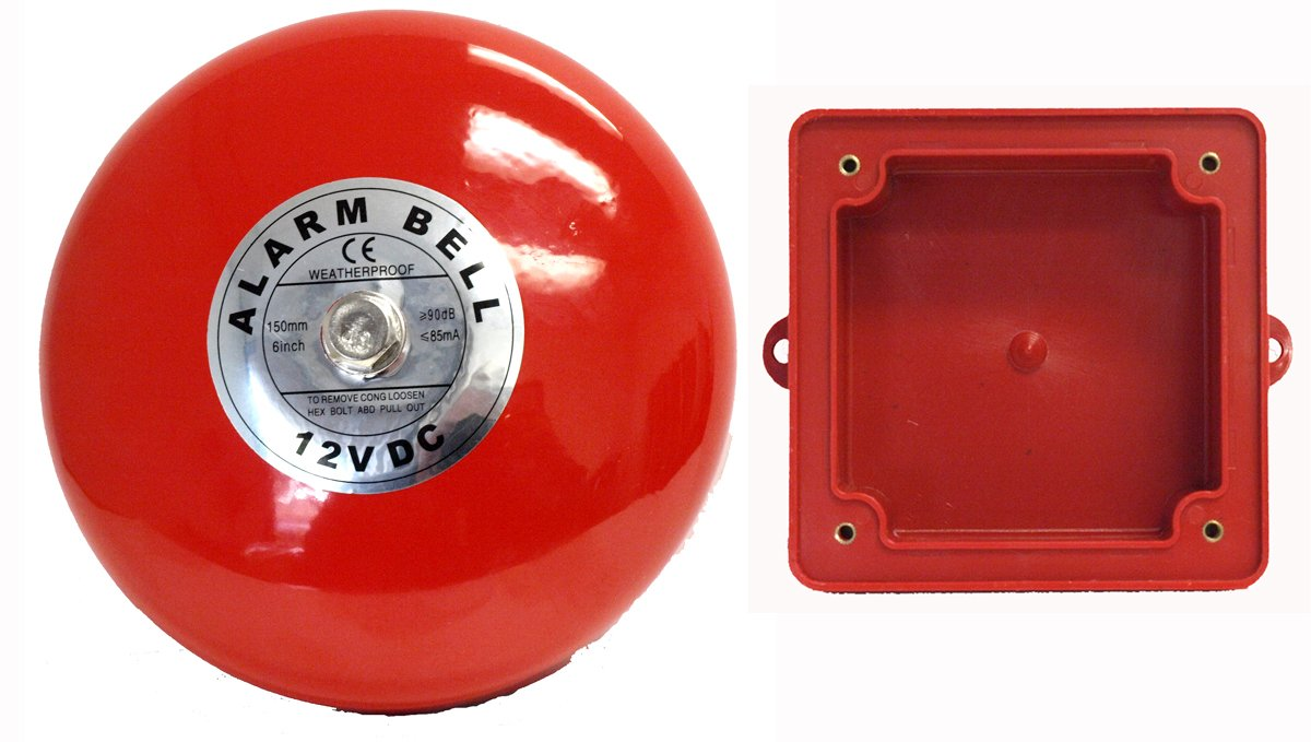 Fire Alarm Bell, 12 Vdc, 6'', with Backing Box