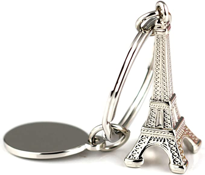 X028 Romantic Paris France Necklace Eiffel Tower Charm with Tiny Heart Locket and Pink Crystal