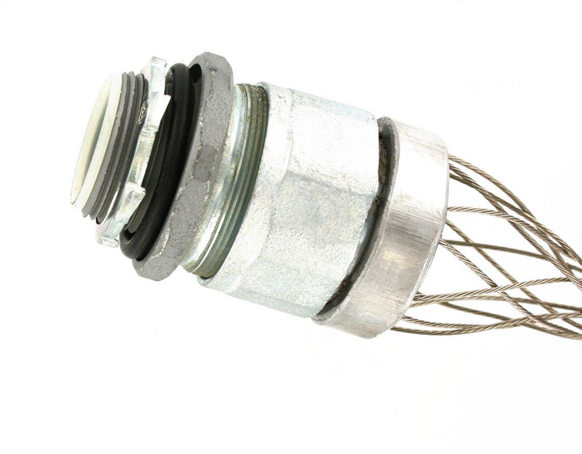 Leviton L7905 1-1/4-Inch, Straight, Male, Aluminum Body, Liquid-Tight Metal Core Conduit, Strain-Relief Grip