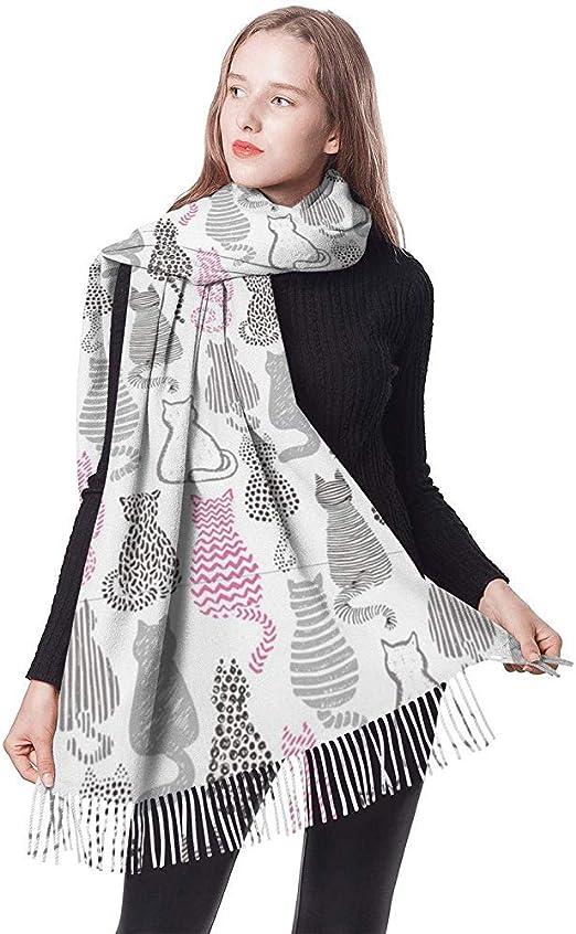 Gatos con textura Fondo blanco Pañuelo para mujer Bufanda