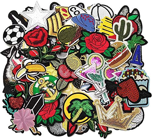 Libiline-50pcs-Random-Assorted-Styles-Embroidered-Patch-Sew-OnIron-On-Patch-Applique-Clothes-Dress-Plant-Hat-Jeans-Sewing-Flowers-Applique-DIY-Accessory-Assorted-Style-5
