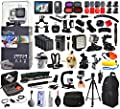 GoPro Hero 4 HERO4 Black Edition CHDHX-401 with LCD Display + Filters + 4 Batteries + Skeleton Housing + Microphone + X-Grip + LED Light + Car Mount + Travel Case + Selfie Stick + WiFi Remote + More