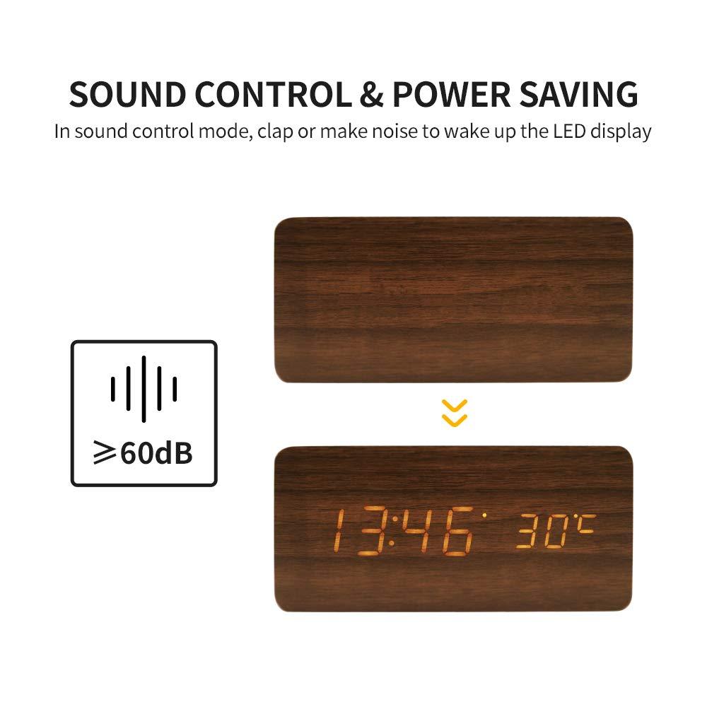 Digital Alarm Clock, LED Clocks with Display Temperature, 3 Alarm Settings, 3 Adjustable Brightness, Sound Control, Wood Alarm Clocks for Bedrooms, Brown