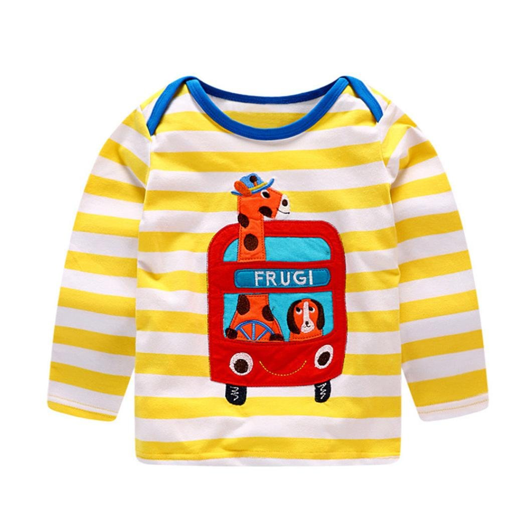 Fineser TM Toddler Baby Girls Boys Giraffe Cartoon Printing Sweatshirt Striped T-Shirt Outfit Clothes
