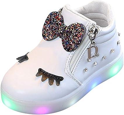 Kinlene Enfants Chaussures Blanches LED Clignotant Chaussures éClairage Chaussures Baskets Bottes Courtes Enfants BéBé BéBé Filles Crystal Bowknot