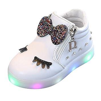 Zapatos De Bebé NiñO NiñA,ZARLLE Led Luz Luminosas Flash Zapatos Zapatillas De Deporte Zapatos De Bebé Antideslizante Botas NiñA Flor Cristal Zapatos con ...