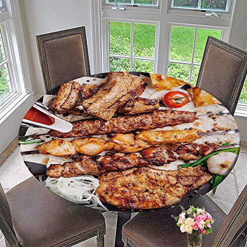 PINAFORE HOME Round Premium Tablecloth Barbecue Meat with Vegetables and Sauce Served with a Black Plate View Stain Resistant 50