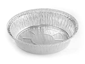 """Pactiv 7"""" Round Aluminum Foil Take-Out Pan 50 Pack -Disposable Tin Containers (No Lids) Air Fryer"""