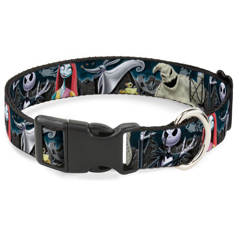 Buckle-Down Breakaway Cat Collar - Nightmare Before Christmas 4-Character Group/Cemetery Scene - 1/2'' Wide - Fits 8-12'' Neck - Medium
