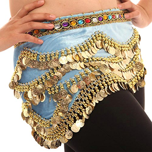 Quesera Women's Belly Dance Skirt 328 Gold Coins Triangle Wrap Chiffon Hip Scarf,Laker Blue,Length=63 (Lakers Costume)