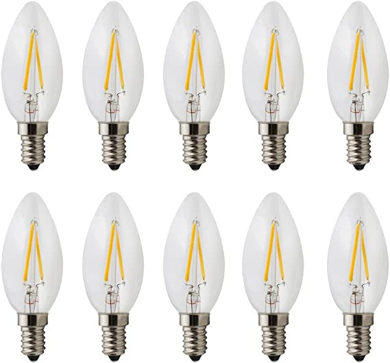 Pack of 10) AC 220V 2w E14 Dimmable LED Filament Candle LED Light Bulb, Torpedo Shape Bullet Top, 20W Incandescent Equivalent Warm White 2700K: Amazon.es: Iluminación