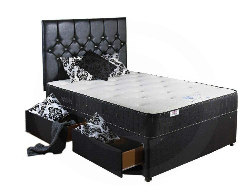Bed Centre Backcare Divan with 2 Drawers, Headboard and Spring Memory Mattress – Single (3'0) SOMNIOR BEDS LTD BAKCRE-30-2D-SS-H/B