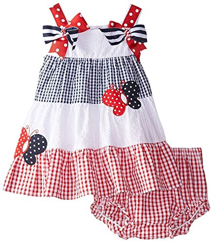 Rare Editions Baby Girl Patriotic Butterfly Seersucker Dress Set (3m-24m) (6 (Rare Editions Butterfly Dress)