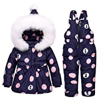 Baby Girl Boy 2 Pcs Snowsuit Toddler Winter Warm Hooded Fur Trim Puffer Down Coat + Jumpsuits Set Outfit