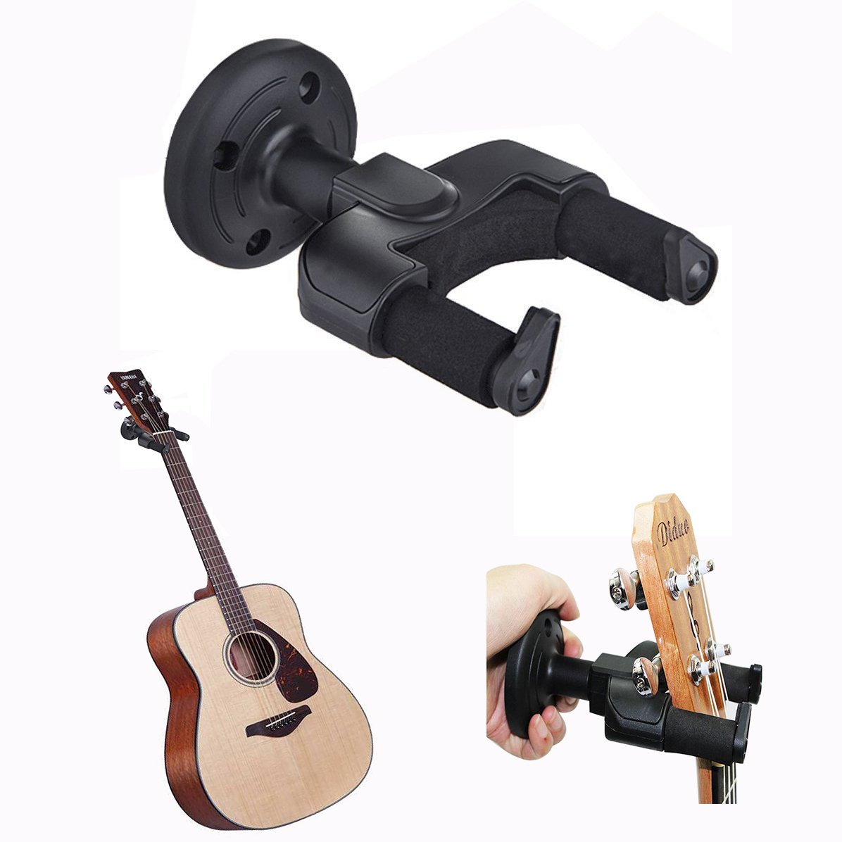 Cisixin Guitar Hanger Wall Mount Holder Rack Hook for Electric Acoustic Guitar Bass Ukulele