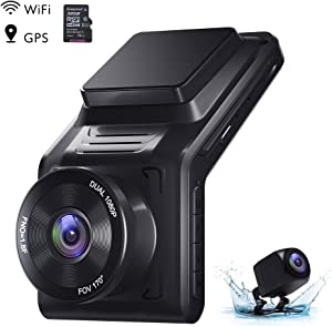 "AKASO 2K Dash Cam Front and Rear 1080P Dual Dash Cam with 32 GB TF Card, 2"" IPS Screen, External GPS, 170°Wide Angle, Wi-Fi, Loop Recording, Night Vision, Parking Mode, G-Sensor"