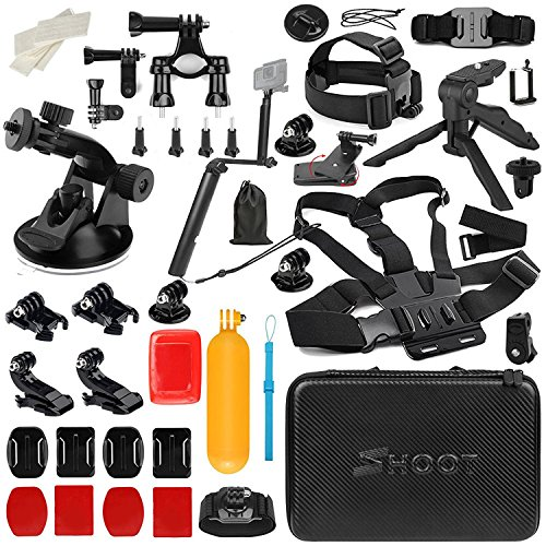 Shoot 31 in 1 Accessory Kit with Carrying Case for GoPro Hero 6/5/4/3+/3/5 Session/Hero(2018)/Fusion Campark AKASO DBPOWER Crosstour FITFORT Accessories by SHOOT