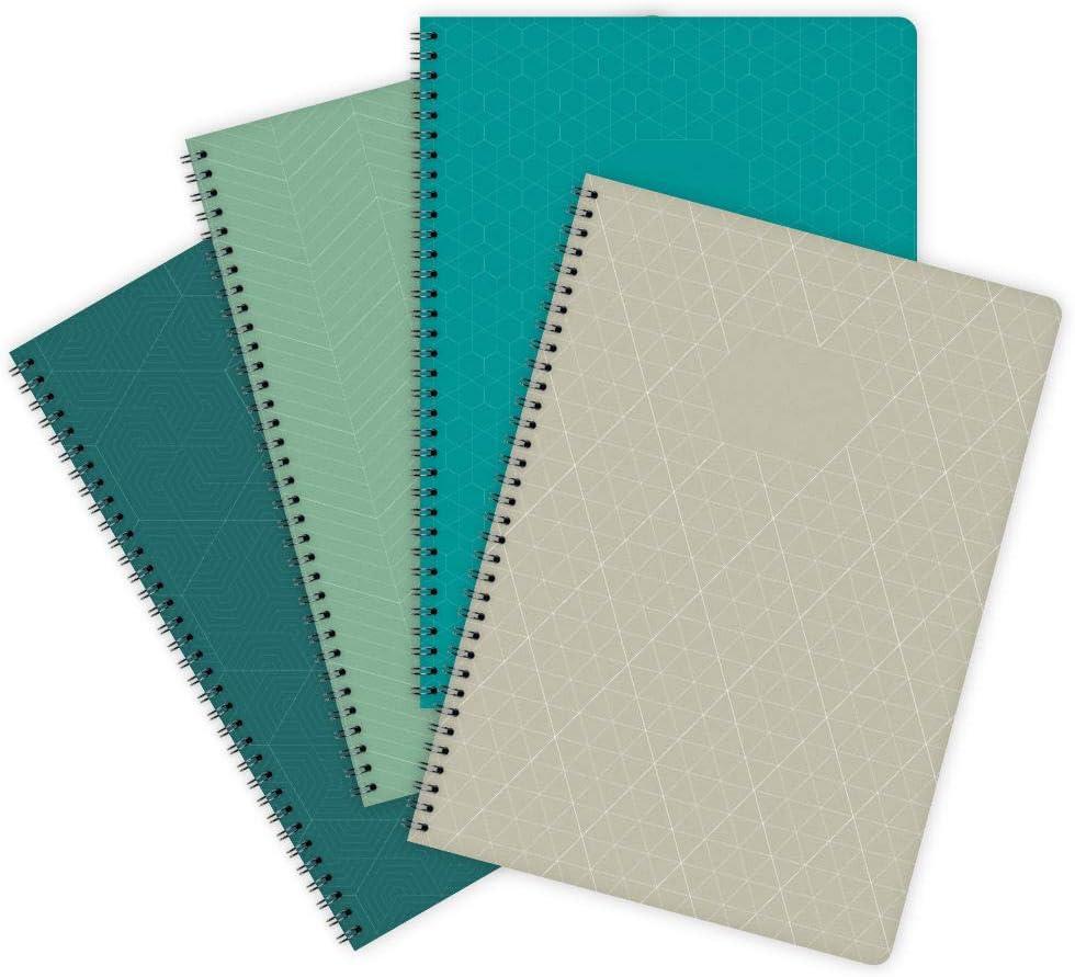 etmamu 706 Geometric - Pack de 4 cuadernos A4, 60 hojas cuadriculadas: Amazon.es: Oficina y papelería