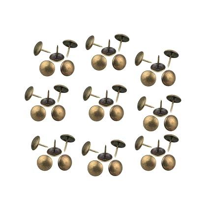 """RZDEAL 200 piezas Mini hierro Retro Upholstery clavos redondos tapacubos (0,3"""" ..."""