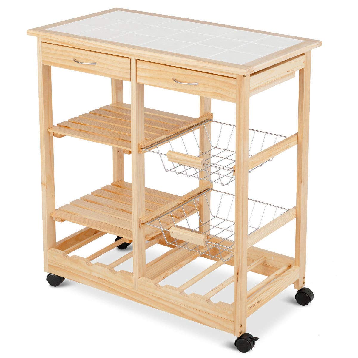 Amazon.com - Moveable Kitchen Island Cart on Wheels Wood ...