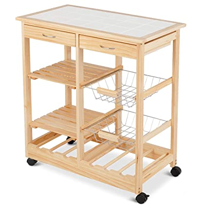 Amazon.com - Moveable Kitchen Island Cart on Wheels Wood ...