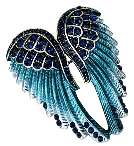 Angel Jewelry Women's Crystal Angel Wings Pin Brooches Pendants (Navy blue) -