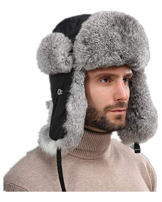 55a35e4b92e70 LVCOMEFF Men Real Rabbit Fur Cotton Lined Bomber Hat with Earflap Russian  Hat Trapper Hat Black: Amazon.ca: Clothing & Accessories