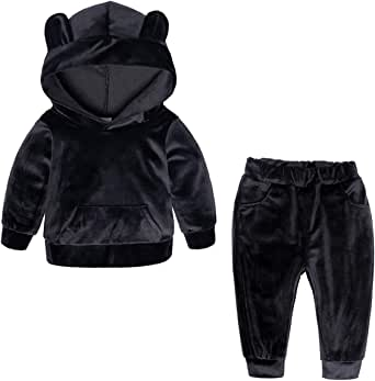 SERAPHY Unisex Baby Velvet Clothing Sets 2PCS Warm Tracksuit Fall Winter Hoodie Sets Fashion Toddler Velvet Outfits