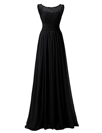 Dressyu Scoop Neck Chiffon Lace Bridesmaid Dresses Long Prom Bridal Gowns Black US 2