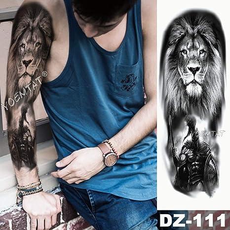 tzxdbh Brazo Grande Tatuaje Manga león Corona Rey Rosa Impermeable ...