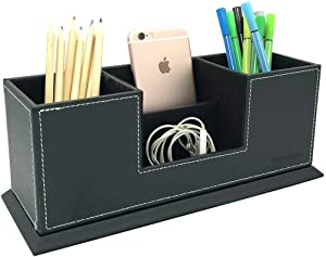 UnionBasic PU Leather 4 Compartment Desk Organizer Card/Pen/Pencil/Mobile Phone Office Supplies Holder Collection Desktop Organizer (Black)