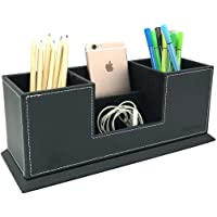 UnionBasic PU Leather 4 Compartment Desk Organizer Card/Pen/Pencil/Mobile Phone Office Supplies Holder Collection…