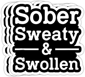 GreenTeeZ Sober Sweaty and Swollen Funny Pregnant for Women Gift Decorations - 4x3 Vinyl Stickers, Laptop Decal, Water Bottle Sticker (Set of 3)