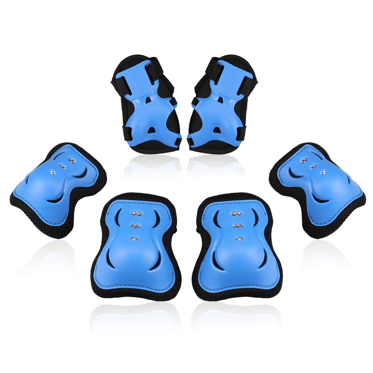 BOSONER Kids/Youth Knee Pad Elbow Pads Guards Protective Gear Set for Rollerblade Roller Skates Cycling BMX Bike Skateboard Inline Skatings Scooter Riding Sports (Black/Blue, Medium(9-15 Years)) by BOSONER