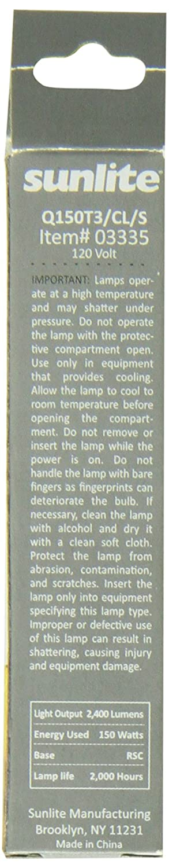 Sunlite Q100T3//CL//S 100-Watt Halogen Double-Ended T3 Bulb Clear