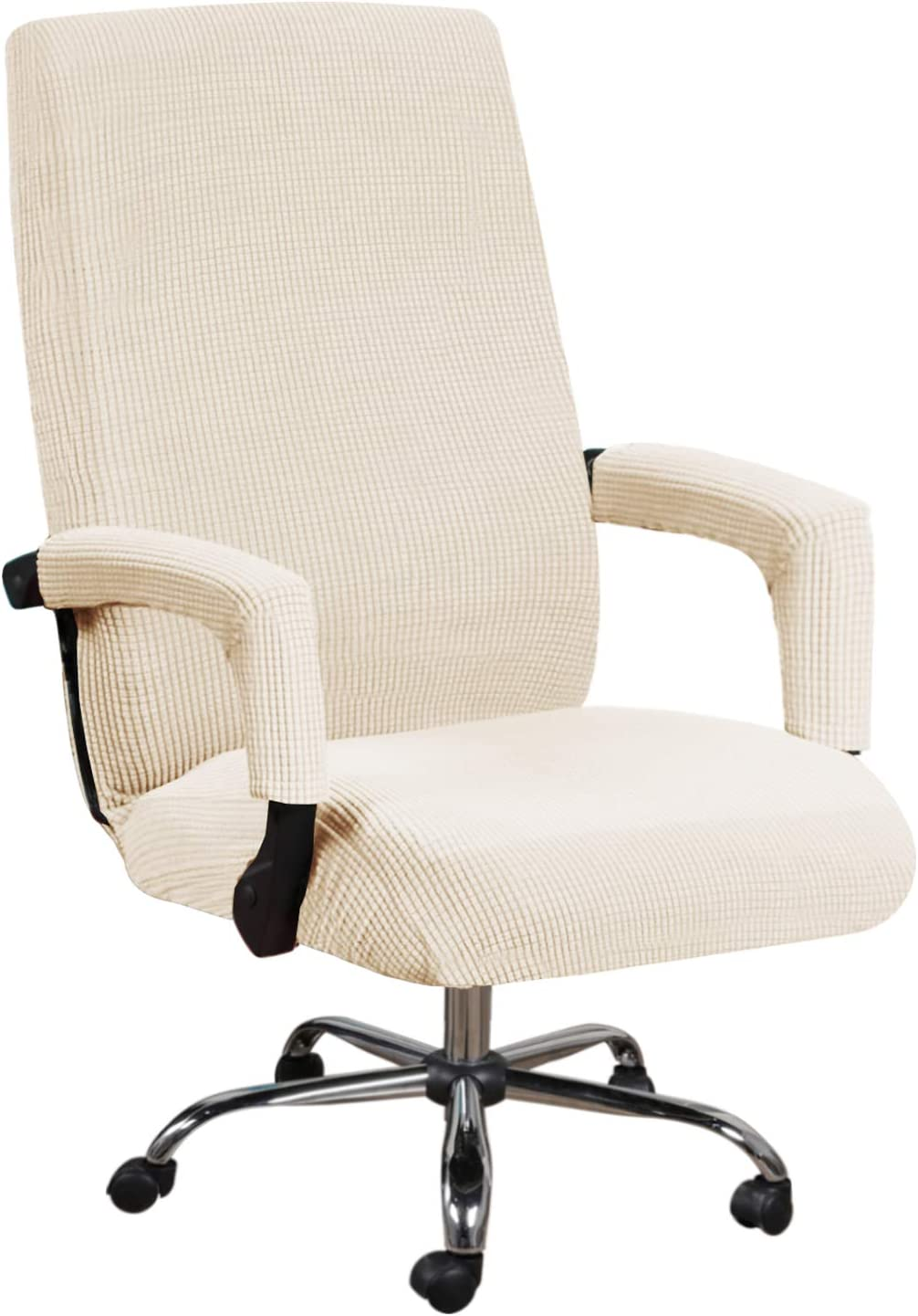 Office Chair Cover Computer Chair Universal Boss Chair Cover Rotating Swivel Chair Cover High Stretch Spandex Jacquard Fabric Removable Washable Anti-dust Chair Cover Protectors, Medium, Natural