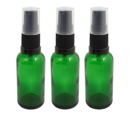 3 botellas de aromaterapia de cristal verde de 30 ml con bomba de tratamiento negro/