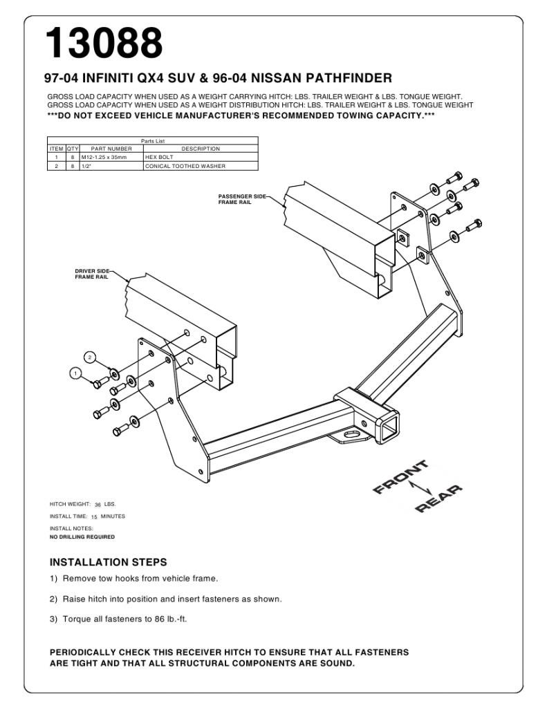 Viogi Fit 96 04 Nissan Pathfinder 97 03 Infiniti Qx4 Weightdistributingtrailerhitchdiagramjpg Class 3 Trailer Tow Rear Hitch Receiver W Clip Pin Mounting Hardware 13088 Automotive
