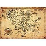 GB eye Lord of the Rings Map Parchment Poster, Wood, Various, 65 x 3.5 x 3.5 cm