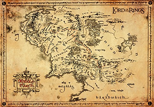 GB eye Lord of the Rings Map Parchment Poster Wood Various 65 x