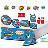 Superhero Party Supplies Pack - Super Hero Party Decorations & Tableware for 16 Guests - Includes Superhero Plates, Cups, Napkins, TableCover, Favor Bags, and Banner