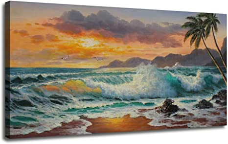 Sunset Beach Boat Seascape SINGLE CANVAS WALL ART Box Framed