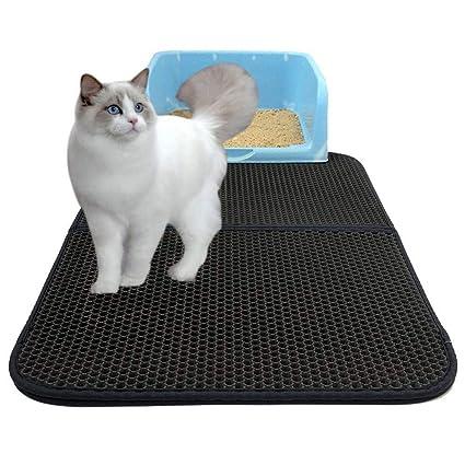 Estera de arena para gatos, impermeable alfombra de basura Diseño De Doble Capa Salvamanteles Para