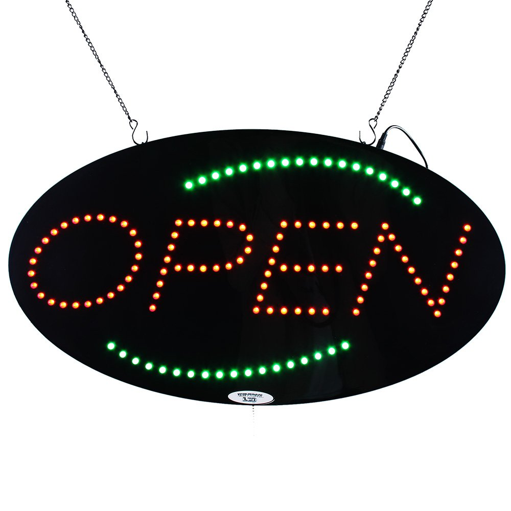 LED Open Sign Super Bright Electric Advertising Display Board for Message Business Shop Store Window Bedroom Barber Hair Salon Nails Spa Massage Manicure Pedicure 27 x 15 inches