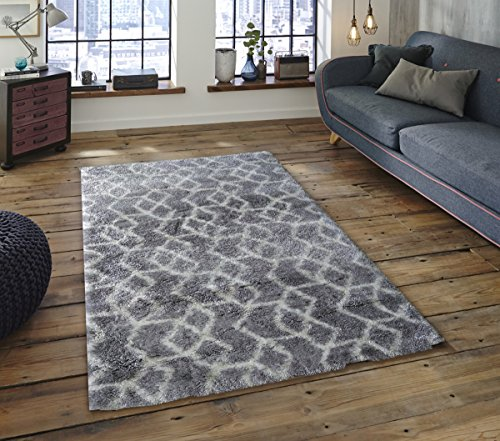 Soft Pile (Adgo Vernazza Collection Modern Contemporary Jute Backed Shag Shaggy Area Rugs Tall Pile Height Well Spaced Soft and Fluffy Indoor Floor Rug (8' x 10', AC84B - Grey White))