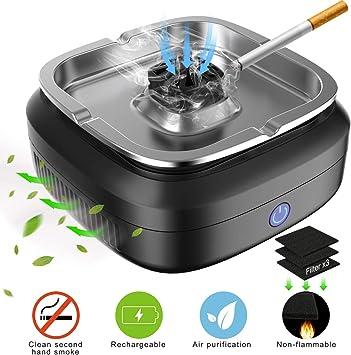 NOTENS Cenicero purificador de aire, multifunción, Cenicero de cigarro, recargable, USB, sin humo, para el hogar, oficina, coche, 3 redes de filtro incluidas: Amazon.es: Bricolaje y herramientas
