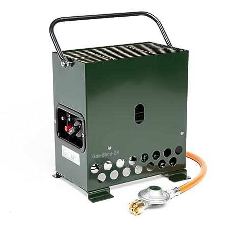2,2 kW Gewächshausheizung grün / Frostwächter mit Gasschlauch + Druckminderer (Gasheizung, Heizung, Standheizung, Gewächshaus