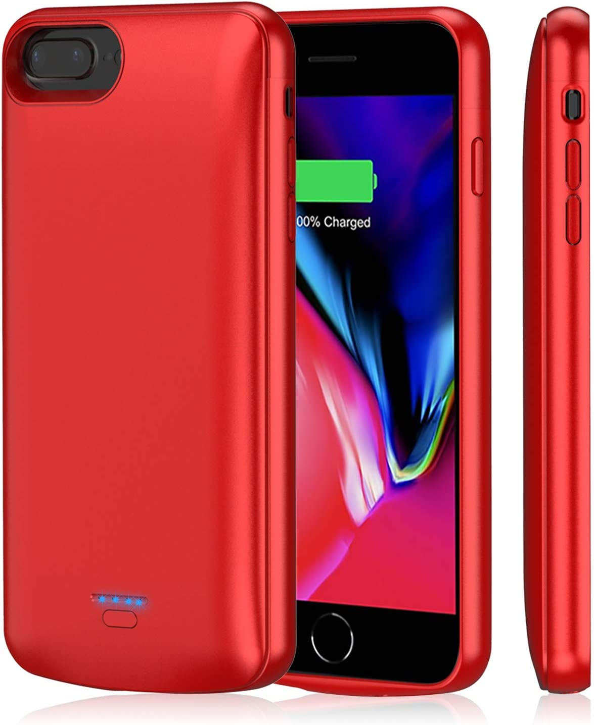 Battery Case for iPhone 8 Plus/7 Plus, TAYUZH 5500 mAh Magnetic Portable Charging Case for iPhone 8 Plus/7 Plus/6 Plus(5.5 Inch) Rechargeable Extended Charger Case Compatible Lightning Headphones- Red