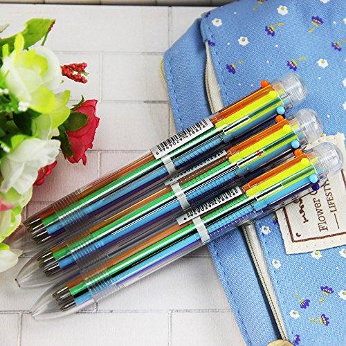 3pcs/Bag 6in1 Ballpoint Pen Multi Color Ball Pen Korean Stationary Marking Pens Office School